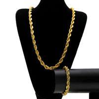 Mens Hip Hop Gold Twist Collier Mode Zilveren Kettingen Armband Kettingen Sieraden Set