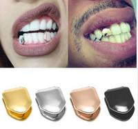 Yeni Moda Parantez Tek Metal Diş Grillz Altın Gümüş Renk Diş Grillz Üst Alt Hiphop Diş Caps Vücut Takı Kadın Erkek Için