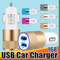 168 de metal con doble puerto USB cargador de coche Universal Port 2.1 Un llevó al adaptador de carga para teléfonos inteligentes y Tablet PC