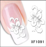 1sheets Fashion White Flower Beauty Polish Items Nail Art De...