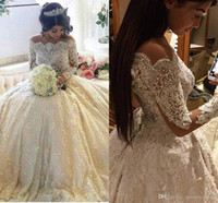 2020 Luxury Vintage Full Lace Wedding Dresses Off Shoulder B...