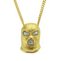 Venta caliente Hip Hop CSGO colgante collar para hombre estilo punk estilo 18k aleación de oro plateado máscara plateado cabeza encanto colgante de alta calidad cadena cubana