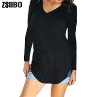 Sprint Yaz Sonbahar Büyük Boyutları Kadın T-shirt Katı V Boyun uzun Kısa Kollu Yuvarlak Hem Uzun tişört Casual En kadın Tunik NVTX85