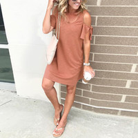 Feitong Women Dress Summer Casual Cold Off Shoulder Short Dr...