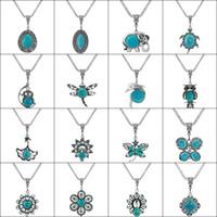 Classique Pendentif Turquoise Turquois Collier Femmes Accessoires de mode Nature Pierre Collier de mariage Bijoux de mode 32 Styles