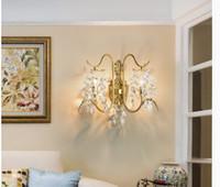 데코 북유럽 빈티지 크리스탈 벽 램프 W48cm H40cm 현대 럭셔리 LED 크리스탈 조명 침실 식당 통로 크리 에이 티브 레트로 조명을 2arms