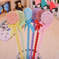 Flat Lollipop Ballpoint Pen Creative Cartoon Cute Plush Gift Reklam Pen Factory Direktförsäljning
