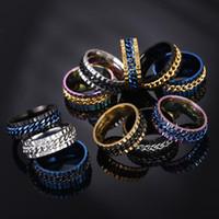 Roterbar kedja ring kvinnor män smycken förlovning ringar bröllop regnbåge blå guld silver droppe fartyg