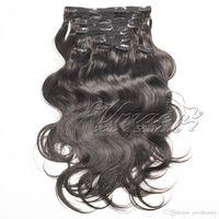 VMAE монгольского волос Soft Touch Нет Клубок кутикула выравнивание Natural Black перуанского Virgin 120г 140г 160г Body Wave клип в наращивании волос