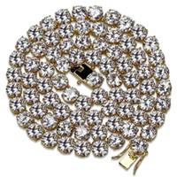 18K Gold überzogenes Kupfer Hip Hop Runde CZ Zirkonia Für Männer und Frauen Tennis-Ketten-Halskette 4 6 8 mm Unisex voller Diamant-Punkrock-Rapper Schmuck