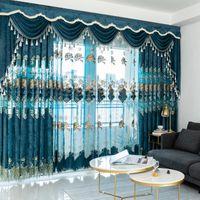 European Bordado Bordado Chenille Quarto Cortinas para sala de estar moderno Tulle janela cortina valance decorar T200323