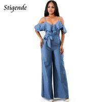 Stigende Large Jumpsuit Femmes Spaghetti Strap Denim Combinaison Salopette Froncé Casual Lâche Jumpsuit Jeans Dames Sexy Romper Y19060501