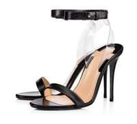 Elegant red bottom sandals Clear PVC Crystals strap heels tr...