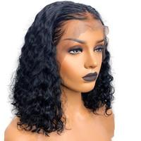 Kısa Kıvırcık Bob HD Dantel Ön İnsan Saç Peruk Diva Dantel Ön HD Peruk 130% Yoğunluk