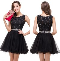 Little Black Lace A Line Cocktail Jurken 2020 Tule Ruffles Beaded Rhinestones Short Party Homecoming Prom Dresses 100% Real Image CPS381