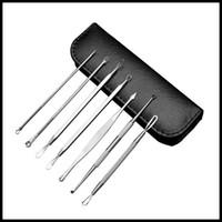 7pcs STOCK / set cabeça de aço inoxidável preto removedor Kit de Ferramentas Professional Blackhead Acne comedão Pimple Blemish Extractor ferramenta de beleza