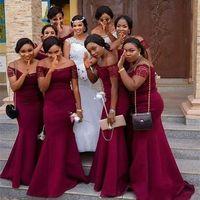 2020 Африканский девочка Темно-красный с плеча кружева рукава Русалка невесты платья сшитое сатин горничной честь Gowns