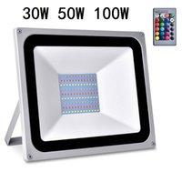 100W 50W 30W RGB LED ضوء الكاشف تغيير اللون مع التحكم عن بعد الأضواء في الهواء الطلق الأسهم الأمريكية