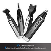 Facial e Corporal Cabelo Facia Remoção 4 em 1 Nose Trimmer Mens Elétrica Cabelo Trimmer USB recarregável Grooming barbear sobrancelha Sideburns dos homens