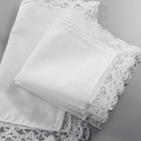 Pañuelo fino de encaje blanco Mujer Regalos de boda Decoración de fiesta Servilletas de tela Liso en blanco Pañuelo de bricolaje 25 * 25 cm