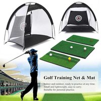 Indoor Foldable Golf Hitting Cage Practice Net Trainer + Training Aid Mat + Driver Iron Garden Grassland Golf Training Equipment