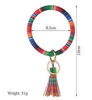 Vente chaude Pu En Cuir Porte-clés Bracelet En Cuir Faux Gland Imprimer Fleur Leopard Porte-clés Bracelet Big O Key Ring Dragonne Bracelets