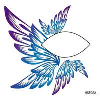 NOUVEAU Mode imperméable Single Oeil Blue Wing Design Face Eye Decoration Autocollants de tatouage temporaires non toxiques 12pieces / Lot Drop Expédition
