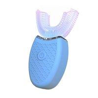 Новейшая 360 градусов Электрическая зубная щетка автоматический звуковой U Тип 3 режима зубы чистые USB зарядка отбеливание зубов синий свет Бесплатная доставка