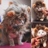 Kulaklar Pet Giyim ile Kedi Köpek Cadılar Bayramı Noel Giyim Fantezi Elbise için komik Sevimli Pet Kedi Kostüm Lion Mane Peruk Cap Şapka