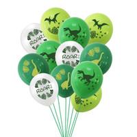 12 pulgadas 12 unids / SET INS Feliz Cumpleaños Decoración de globo Dinosaurio Dibujos animados Latex Globos Festival Party M2070