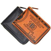 Cartera de hombre creativa moda Europa y Estados Unidos billetera corta impresión de cremallera billetera de patrón de oro americano personalidad hipster cro