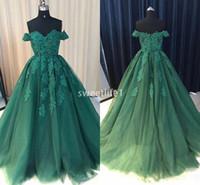 2019 Escuro Verde Off The Shoukder Noite Dreses Lace Apliques Uma Linha Até O Chão Com Zíper de Volta Formal Ocasião Prom Party Dresses