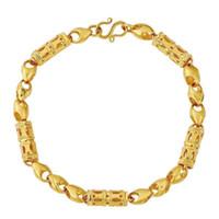 (373B) (19.5 سم) 2019 صيف جديد الخرز الجوف أساور مجوهرات للرجال تصاميم الإبداعية الذهب الخالص اللون الحساسية الحرة