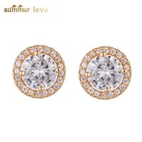 Amazon wish copper zircon gold plated earrings full of Star ...