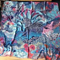 الغابة حمار وحشي الشيفون الحرير والتوت حك الأوشحة 140CM شاح مربع السيدة اليدوية ذات الاستخدام المزدوج كبير شاطئ مخصص للنساء لوحة شال الإناث