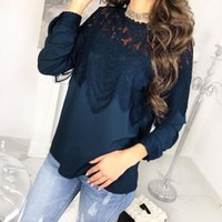 good quality Women Blouses Autumn Lace O Neck Blouse Casual ...