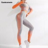 Roupas de ioga 2 pcs sem costura esporte terno mulheres manga longa colheita tops + cintura alta barriga controlar leggings fitness conjunto de ginástica