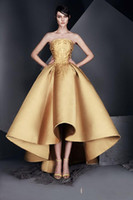 Elegant Gold Applique Prom cocktail Dress Strapless High- Low...