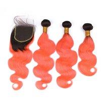 Negro y naranja Ombre brasileño de la Virgen la onda del cuerpo del cabello humano de la armadura de los paquetes con 4x4 del encierro del cordón de # 1B / Orange Ombre tramas del pelo con el encierro