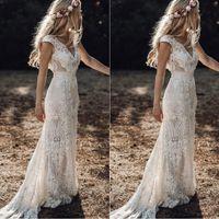 Vintage 2019 BERTA Full Dentelle Mermaid Robes De Mariée V Cou Cou Sleeve Robes de mariée Bohemian Beach Jardin Custom Vestido de Novia