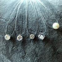 Nuovo trasparente linea di pesca Collana donne invisibili collane a catena pendenti con strass choker collane gioielli di moda