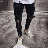 Hommes Zipper Holes Designer Jeans Black Fashion Ripped Slim Fit Représen Crayon Pantalons Hip Hop Pantalons adolescents
