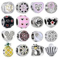 Einfache Stil Große Kugelsterne Kristall Blumen DIY Perle Fit Original Pandora Charms Silber Armband Schmucksachen Für Frauen Geschenke