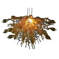 Main en verre de Murano en gros Blown Lustres Éclairages Ambre suspendu LED Pendentif d'éclairage moderne Art lustres Grande Livraison gratuite