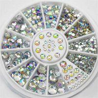 DIY 네일 아트 휠 팁 크리스탈 반짝이 라인 석 3D 손톱 장식 화이트 AB 컬러 아크릴 다이아몬드 드릴