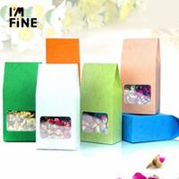 Borsa da regalo di imballaggio 10pcs / lot cartone del cartone del cartone dell imballaggio dell imballaggio, scatola della finestra trasparente per la deposito del biscotto della torta che si alza la borsa dell imballaggio