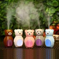 Mini USB Ультразвуковой увлажнитель воздуха очиститель воздуха для автомобиля Домашний офис Настольный мультфильм медведь воздушные туманы Mikers со светодиодными огнями