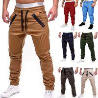 Homens Casual Joggers calças sólida fina de carga Sweatpants Masculino multi -Bolso Calças Mens Sportswear Hip Hop Harem Pencil Pants Tamanho S-4XL