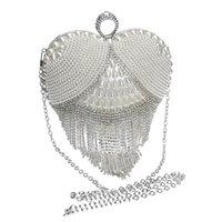 Designer-Finger Ring Rhinestones Bröllop Handväska Hjärtformade Diamanter Kvinnor Kvinnor Kedja Skulderhandväska Day Beaded Small Purse