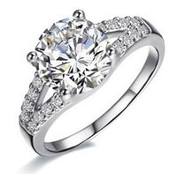 도매-2Ct SONA 합성 다이아몬드 반지 웨딩 밴드 약혼 반지 실버 화이트 골드 도금 사랑스러운 약속 갈래 설정